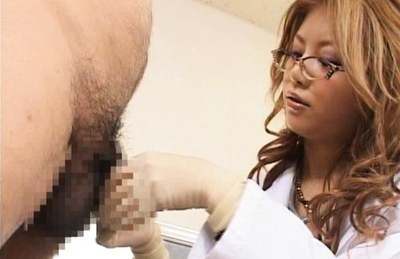 Akane hotaru. Doctor Akane ogling seductively at his cock as he masturbates it