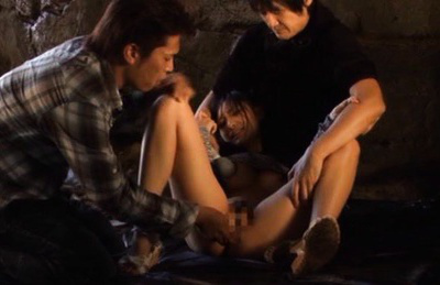 Nana ogura. Pretty babe Nana outdoors in a threesome getting teased with toys