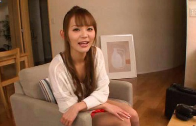 Emiri okazaki. Emiri Okazaki seated on the couch gets teased