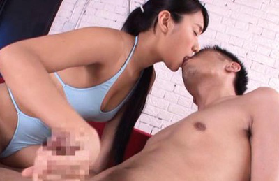 Nana ogura. Nana kisses him as she unravels his massive cock and