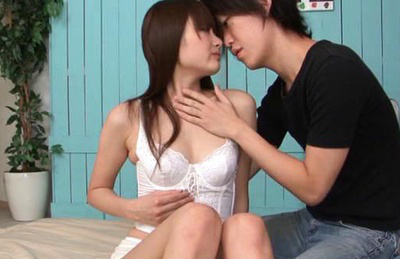 Azu hoshitsuki. Pleasant Azu Hoshitsuki kisses lovely with young boy that wants her