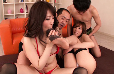 Asuka. Lustful Asuka and her girlfriend got two cocks in the foursome video