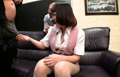 Japanese av model. Japanese AV Model touches and gulp penis in presence of fellow