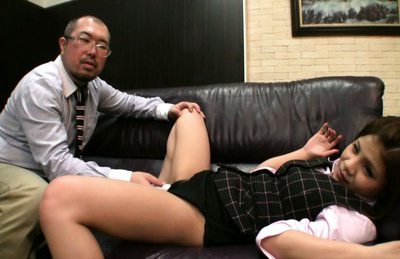 Japanese av model. Japanese AV Model in uniform has pussy under
