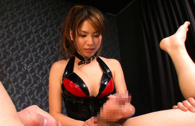 Nanami sakura. Nanami Sakura Asian in red and black latex strokes rough penis