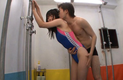 Tsubomi. Young girl Tsubomi gets make love by libidinous boy in the public shower