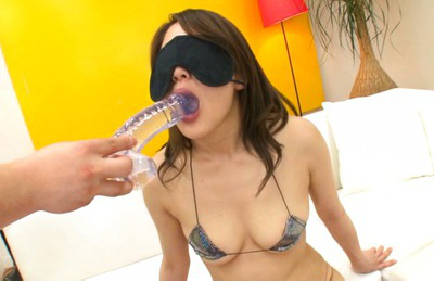Misa kudou. Misa Kudou Asian with eyes covered and gorgeous bra gulp dildoes