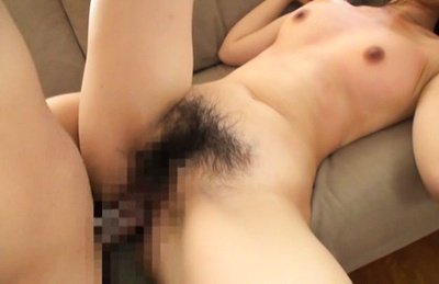 Japanese av model. Skinny AV Model have sex in super hairy vagina on the sofa