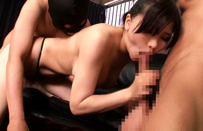 Anri okita. Libidinous Anri Okita fucks wild with two boys in amazing poses