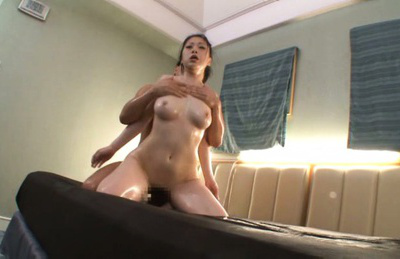 Japanese av model. Nasty Jap AV Model is make love with two