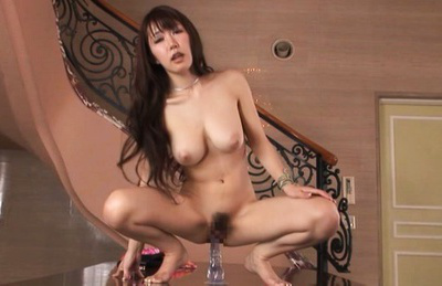 Azumi kinoshita. Azumi Kinoshita Asian with voluminous cans rides dildo with nasty cunt