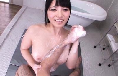 Ai uehara. Ai Uehara Asian rubs her juicy soaped tits